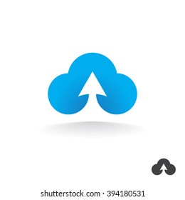 Stylized cloud and an arrow. Vector design of an icon virtual storage.