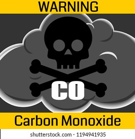 stylized cloud of poisonous gas with black skull and carbon monoxide warning text on yellow