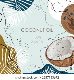 Stylized coconut with palm leaves on an abstract background. 100% organic
