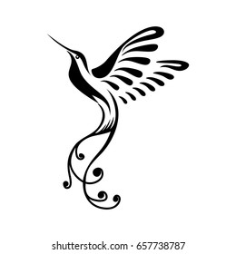 Stylized Colibri or Hummingbirds in black and white colors, good for logo, icon, t-shirt, mascot, or even a poster