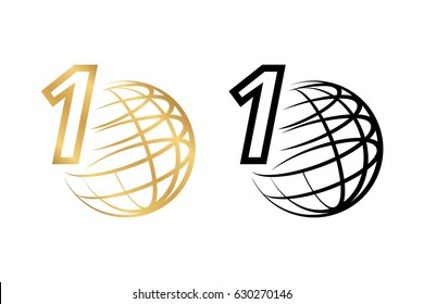 Stylized colored gold and black icon or logo of the globe or globe with the number 1, the first on the planet, an isolated on background vector for design or infographics.