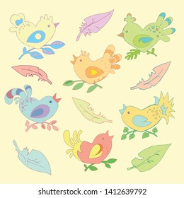 Stylized colorful birds in the shape of a heart, bird feathers on a yellow background