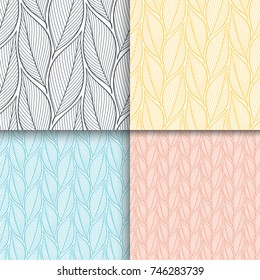 Stylized colorful branches and leaves seamless pattern set. Nature universal textures. Hand drawn decorative floral ornamental background. Vector illustration