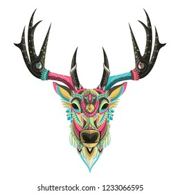 Stylized colorful deer portrait on white background