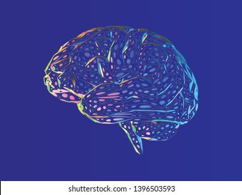 Stylized colorful dot polygonal brain illustration with triangulate line on deep blue background