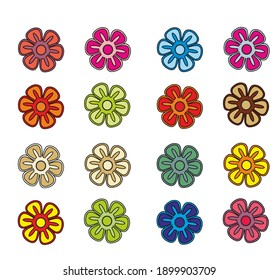 STYLIZED COLORFUL FLOWERS OF PRIUMULA AND DAISY