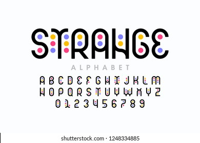 Stylized colorful font design, colorful alphabet and numbers vector illustration