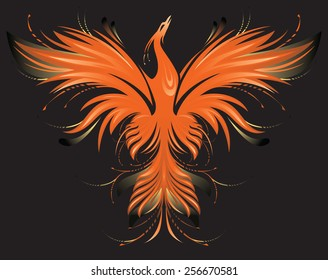 Stylized colorful image of Phoenix on black background.