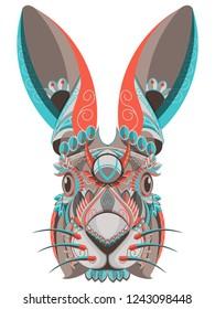 Stylized colorful rabbit portrait on white background