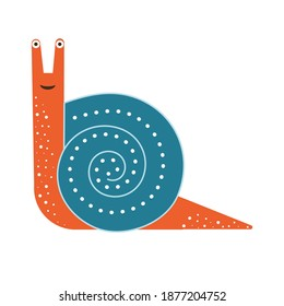 Stylized colorful snail icon. Funny mollusc or shelled gastropod on white background.