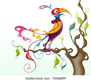 stylized colorful tropical bird perched on a branch of a tree : parrot