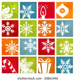 Stylized and colorful winter and holiday icon set.