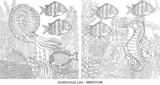 Stylized composition of tropical fish, calamari (squid), seahorse, underwater seaweed, corals and starfish. Set collection for adult anti stress coloring book page with doodle and zentangle elements.