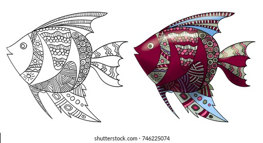 Stylized composition of tropical fish. Freehand sketch for adult anti stress coloring book page with doodle and zentangle elements.