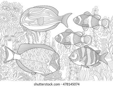 Stylized Composition Of Tropical Fish Underwater Seaweed And Corals Freehand Sketch For Adult Anti