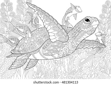 Sea Turtle. Doodle Hand Drawn Vector Illustration. Coloring Book ... | 280x364