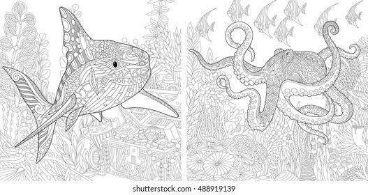 Stylized composition of underwater shark, octopus (poulpe), tropical fish, seaweed, treasure chest with gold. Set collection for adult anti stress coloring book page with doodle and zentangle elements