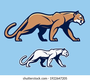Stylized cougar on the blue background. Can be use as mascot.