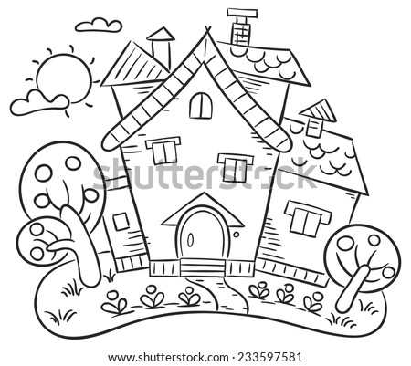 Stylized Countryside House Garden Stock Vector Royalty Free