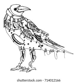 Stylized crows. Decorative bird. Line art. Rook. Black and white drawing by hand. Doodle. Zentangle. Tattoo. Graphic arts.