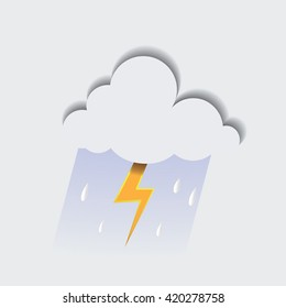Stylized cutout cloud,thunder and rain.Vector illustration.