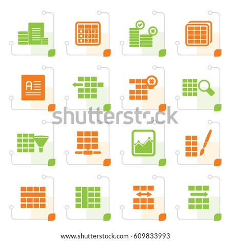 stylized database table formatting icons vector stock vector