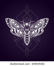 Stylized Death's-head hawkmoth. Vector illustration on geometric background
