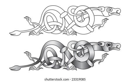Stylized decorative celtic dragon knot-work illustration