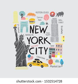 Stylized decorative flat symbols of new York hand drawn in pastel colors. Square illustration for travel guides, cards, posters and for printing on Souvenirs. Banner about travel. Vector illustration