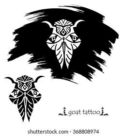 Stylized decorative goat mask. Tattoo silhouette. Vector illustration.