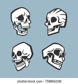 Stylized decorative human skulls set. Vector illustration.