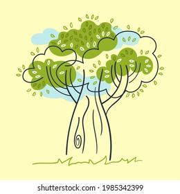 Stylized decorative tree, blue clouds, grass. Yellow background. Vector illustration.