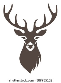 Stylized deer head isolated on white background