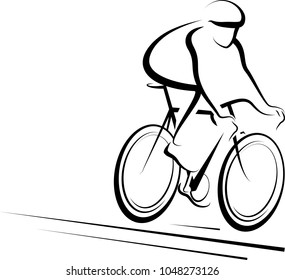 Stylized design of a male bicycle rider