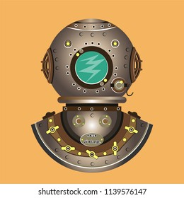 Stylized diving equipment of the old model. Vintage. Vector illustration