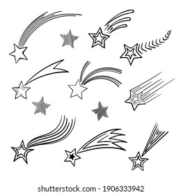 Stylized doodle black and white sketch of the falling star.