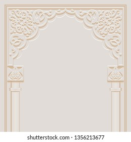 Stylized door in arabic architectural style arch with ornamental patterned stone relief and pillars of islamic mosque, greeting card for Ramadan Kareem