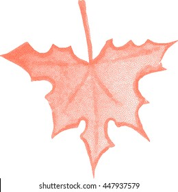 Stylized dotted maple leaf. Vector design elements.