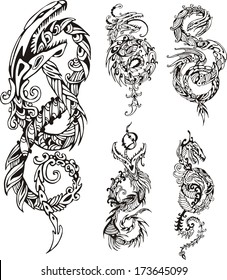 Stylized dragon knot tattoos. Set of black and white vector illustrations.
