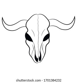 Stylized drawing of a skull of a cow, vector illustration