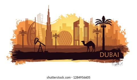 Stylierte Dubai Landschaft mit Flecken und Farbtupfern. Vereinigte Arabische Emirate