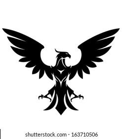 stylized eagle. Black over white - vector illustration