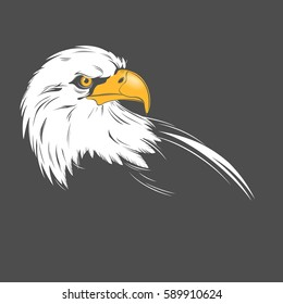 Stylized eagle head illustration on a dark background