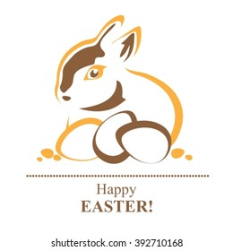 Stylized Easter rabbit with Easter eggs silhouette background.