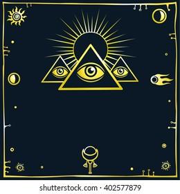 Stylized Egyptian pyramids. Mystical symbol.  Knowledge eye. Dark background. Gold imitation.