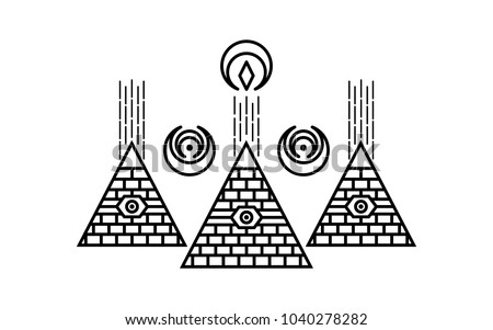 Stylized Egyptian Pyramids Mystical Symbol Knowledge Stock Vector
