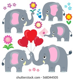 Stylized elephants theme set 4 - eps10 vector illustration.