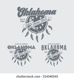 Stylized emblem of the State Oklahoma, white