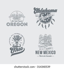 Stylized emblems of the States Oregon, Oklahoma, Ohio, New Mexico, white