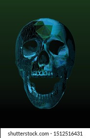 Stylized engraved drawing on blue wireframe polygonal screaming human skull front view illustration isolated on dark green background